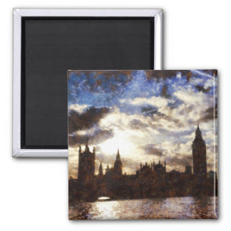 Thames and Westminster Palace 2 Inch Square Magnet