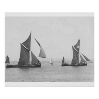 Thames Barge Race 1975, in the estuary Poster