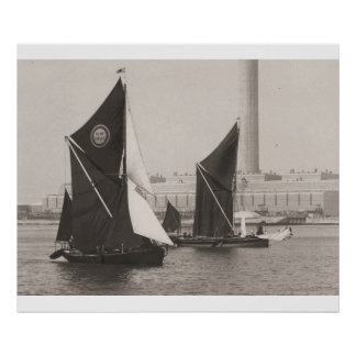 Thames Barge Race 1975, passing the power station Poster