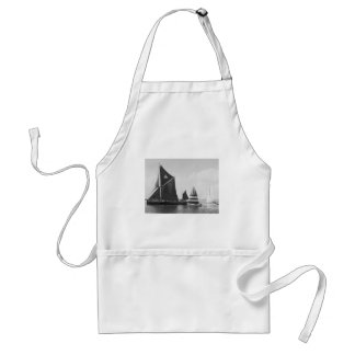 Thames barge race with flotilla of small boats adult apron