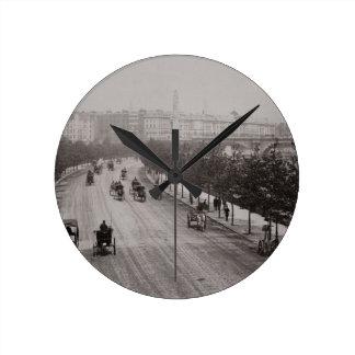 Thames Embankment (sepia photo) Round Clock