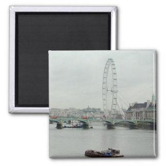 Thames River Low Tide--London Eye 2 Inch Square Magnet