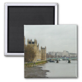 Thames River Low Tide--Parliament/Westminster 2 Inch Square Magnet