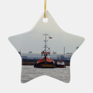 Thames Tug And Motorboat Double-Sided Star Ceramic Christmas Ornament