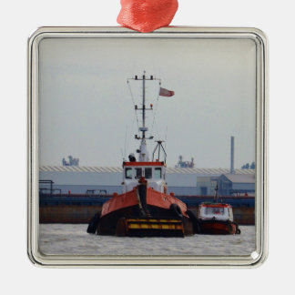 Thames Tug And Motorboat Square Metal Christmas Ornament