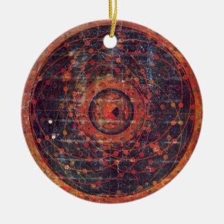 Thangka astronómico tibetano adorno navideño redondo de cerámica