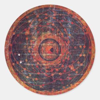 Thangka astronómico tibetano pegatinas redondas