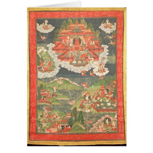 Thangka del paraíso de Amitabha Tarjeton