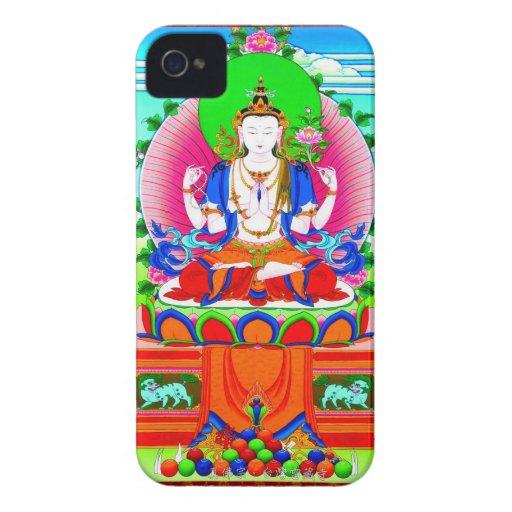 Thangka tibetano fresco Shadakshari Avalokiteshvar iPhone 4 Case-Mate Carcasas