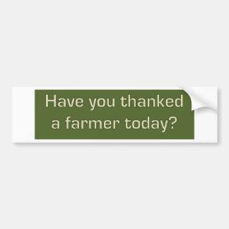 Thank a farmer bumper sticker car bumper sticker