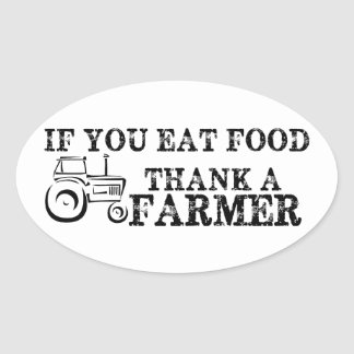 Thank A Farmer Oval Sticker