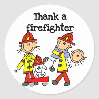 Thank a Firefighter Tshirts and Gifts Round Stickers