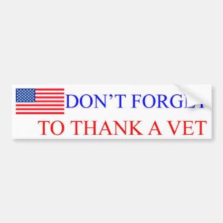 Thank a Vet Car Bumper Sticker