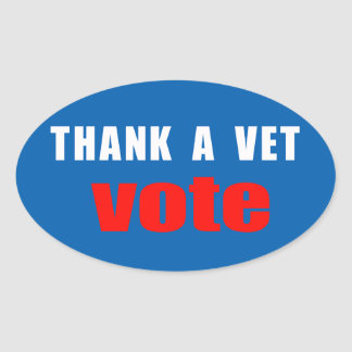 Thank A Vet Vote Oval Stickers
