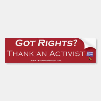 thank an activist red bumper sticker