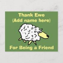 Thank Ewe for Being a Friend - Fun Sheep Design Postcard