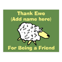 Thank Ewe for Being a Friend - Fun Sheep Design Postcard