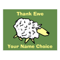 Thank Ewe Fun Sheep Design Postcard