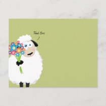 Thank Ewe Sheep with Flowers Thank You