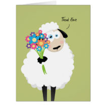 Thank Ewe Sheep with Flowers Thank You Card