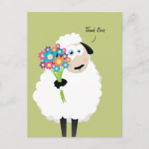 Thank Ewe Sheep with Flowers Thank You Postcard