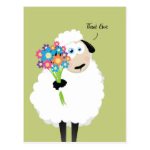Thank Ewe Sheep with Flowers Thank You Postcard