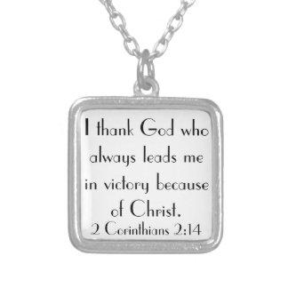 thank God bible verse 2 Corinthians 2:14 necklace