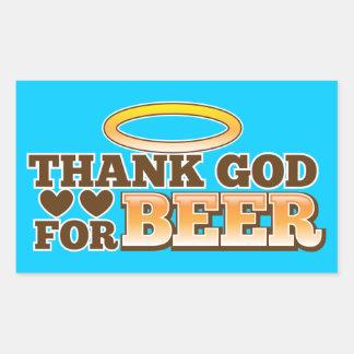 THANK GOD FOR BEER design from The Beer Shop Rectangular Sticker