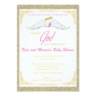 Thank God for Little Angels Baby Shower 5x7 Paper Invitation Card