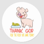 Thank God for the Food with Happy Piglet Stickers