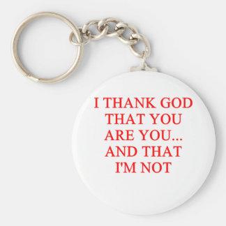 thank god insult key chains