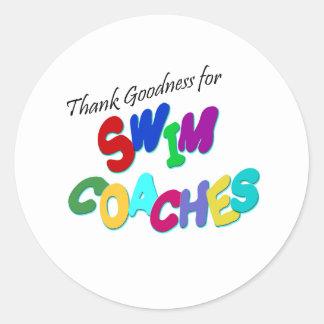 Thank Goodness for Swim Coaches Classic Round Sticker