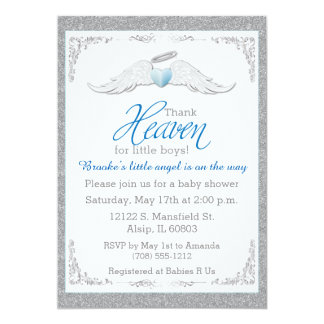 Thank Heaven for Little Boys Baby Shower 5x7 Paper Invitation Card
