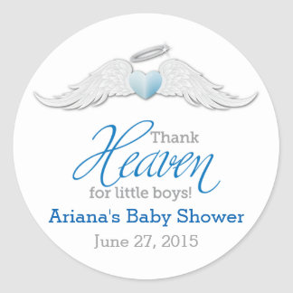 Thank Heaven for Little Boys Baby Shower Classic Round Sticker
