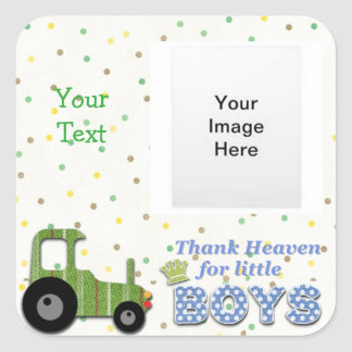 Thank Heaven for Little Boys Square Sticker