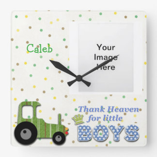Thank Heaven for Little Boys Square Wall Clock