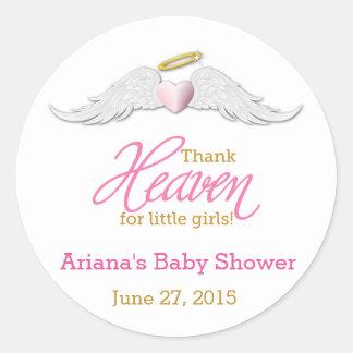 Thank Heaven for Little Girls Baby Shower Classic Round Sticker