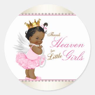 Thank Heaven For Little Girls Ethnic Baby Shower Classic Round Sticker