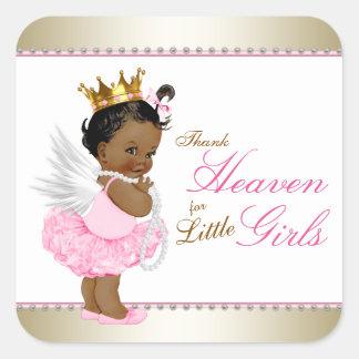 Thank Heaven For Little Girls Ethnic Baby Shower Square Sticker