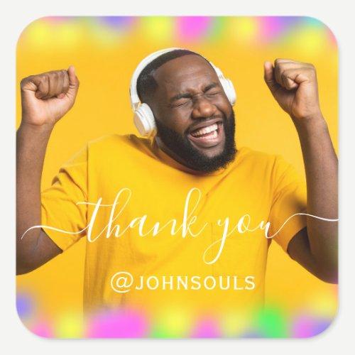 Thank Photo Neon Yellow Holograph Singer DJ Music Square Sticker