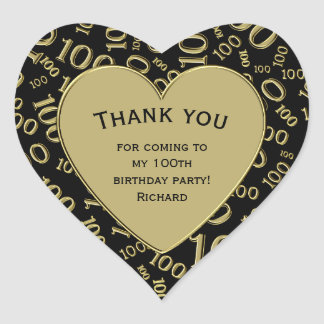 Thank you - 100th Birthday Black and Gold Heart Heart Sticker