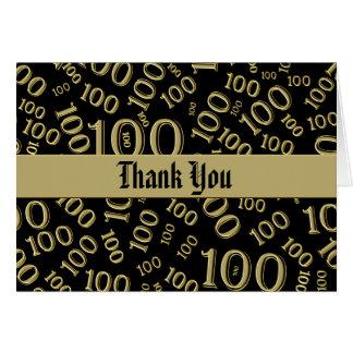 """Thank You""  100th Birthday Theme Gold Blsck Card"