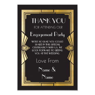 Thank You 1920s Engagement Wedding Party Cards
