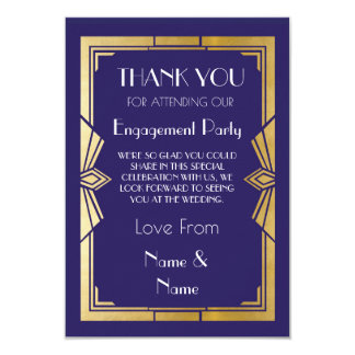 Thank You 1920s Navy Engagement Wedding Party Card