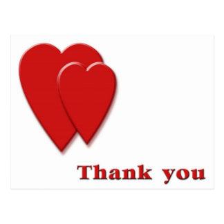 Thank you  2 hearts postcard