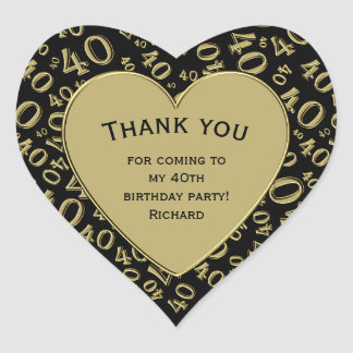 Thank you - 40th Birthday Black and Gold Heart Heart Sticker