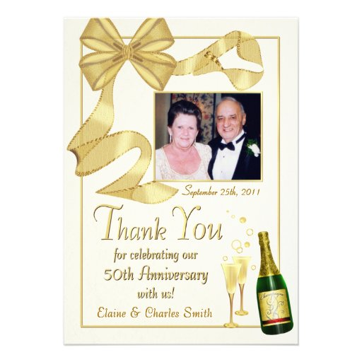 Thank You 50th Anniversary Gift - Flat photo card Custom Invite