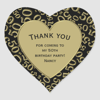Thank you - 50th Birthday Black and Gold Heart Heart Sticker