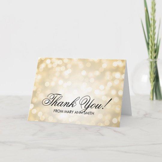 Thank You 50th Birthday Gold Glitter Lights Card