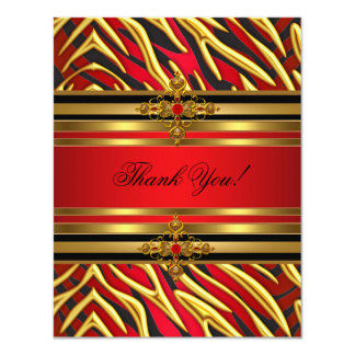 Thank You 50th Birthday Party Red Zebra Gold Black Card